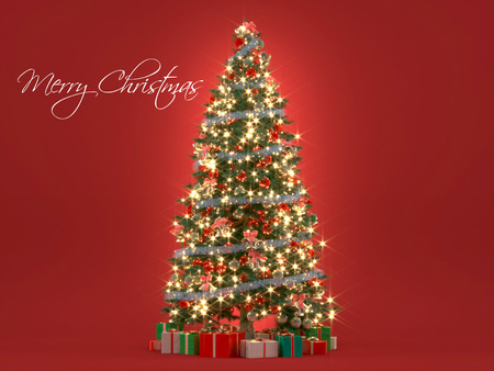 Blurred Christmas tree on red background. 3d renderingの写真素材