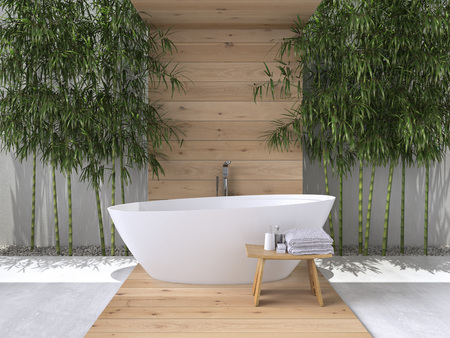 Photo for interior of a bathroom with bamboo. 3d rendering - Royalty Free Image