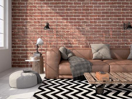 Photo pour Contemporary living room loft interior. 3d rendering - image libre de droit