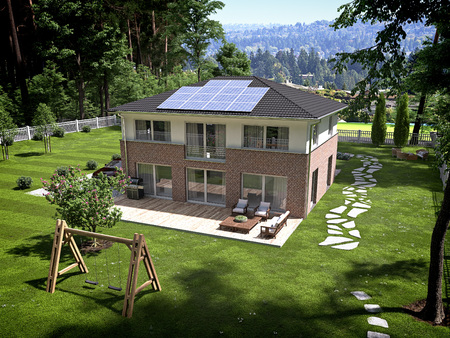 House with solar panels on the roof. 3d renderingの写真素材
