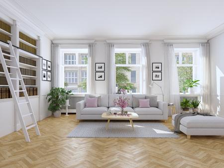 Photo pour 3d rendering. modern living room in townhouse. - image libre de droit