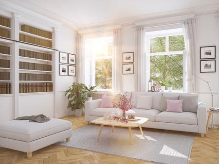 Foto de 3d rendering. modern living room in townhouse. - Imagen libre de derechos