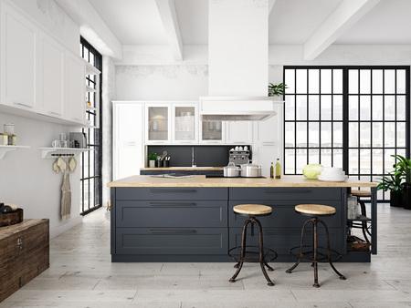 Foto de modern nordic kitchen in loft apartment. 3D rendering - Imagen libre de derechos
