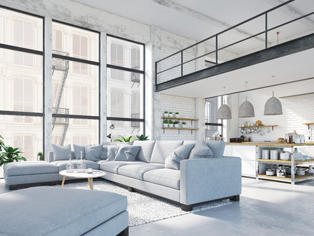 Photo pour modern loft apartment. 3d rendering - image libre de droit
