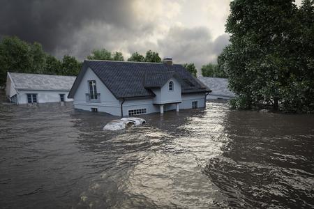 Photo pour 3d rendering. flooding houses - image libre de droit