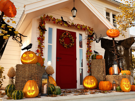 Foto de halloween decorated house with pumpkins. 3d rendering - Imagen libre de derechos
