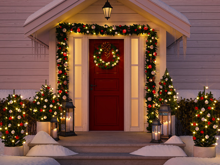 Foto de 3d rendering. christmas decorated porch with  trees and lanterns. - Imagen libre de derechos