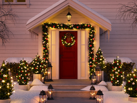Photo for christmas decorated porch - Royalty Free Image