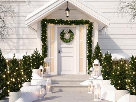 Photo pour christmas decorated porch - image libre de droit