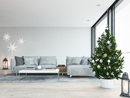 Photo for 3d rendering. home with christmastree in modern apartment. christmas decoration. - Royalty Free Image