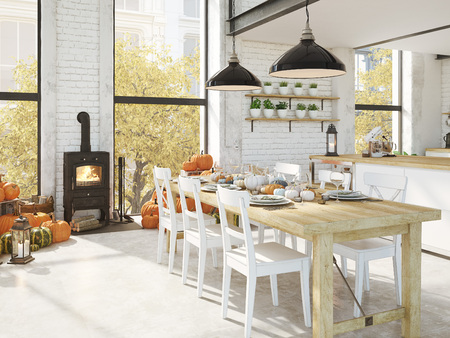 nordic kitchen in an apartment. 3D rendering. thanksgiving concept.の写真素材