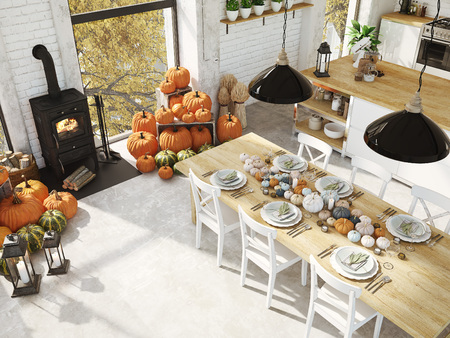 Foto de top view nordic kitchen in an apartment. 3D rendering. thanksgiving concept. - Imagen libre de derechos