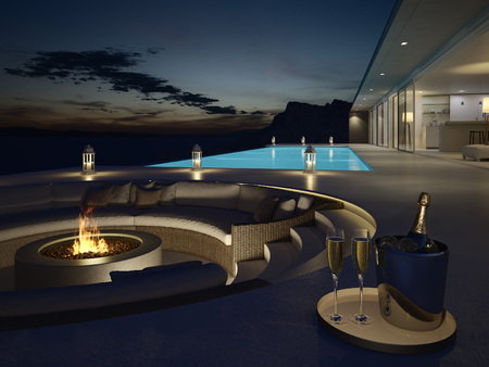 Photo pour 3d rendering of pool villa with champagne. new years eve - image libre de droit