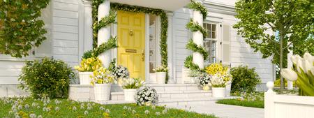 Foto de spring decorated porch with a lot of flowers. 3d rendering - Imagen libre de derechos