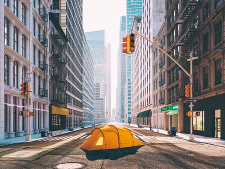 Photo pour wanderlust in a big city. camping concept. 3d rendering - image libre de droit
