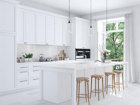 Photo pour modern nordic kitchen in loft apartment. 3D rendering - image libre de droit