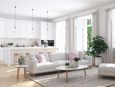 Photo pour modern living room in townhouse. 3d rendering - image libre de droit