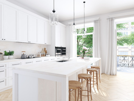 Photo for modern nordic kitchen in loft apartment. 3D rendering - Royalty Free Image