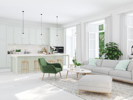 Photo pour modern living room in townhouse. 3d rendering - image libre de droit