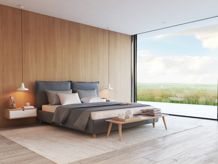 Photo pour modern bedroom in a apartment with view. 3d rendering - image libre de droit