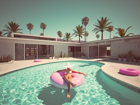 Photo pour Woman swimming on float in a pool. 3d rendering - image libre de droit
