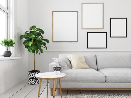Photo pour living room with empty picture frames. 3d rendering - image libre de droit