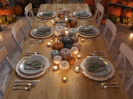 Photo for nordic kitchen in an apartment. 3D rendering. thanksgiving concept. - Royalty Free Image