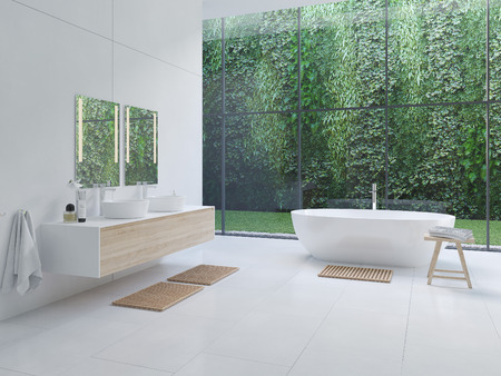 Photo pour 3D new modern zen bathroom with tropic plants. 3d rendering - image libre de droit