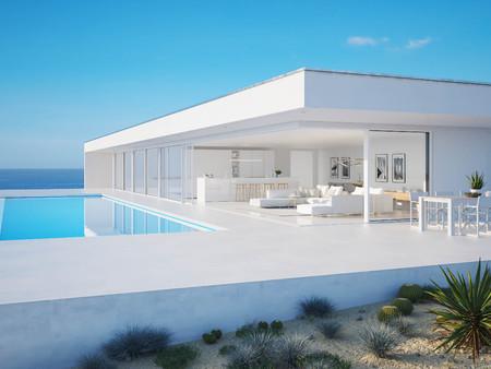 Photo pour 3D-Illustration. modern luxury summer villa with infinity pool - image libre de droit