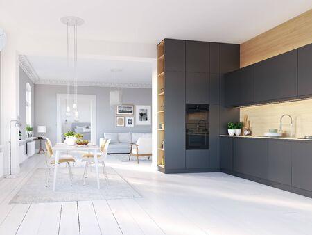 Photo pour 3D-Illustration. loft apartment with living room and kitchen. - image libre de droit