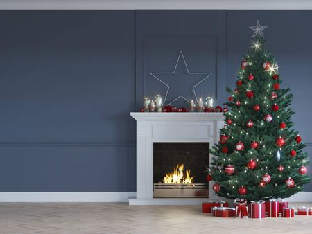 Foto de 3D-Illustration. christmas scene with decorated tree and fireplace. - Imagen libre de derechos
