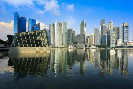 Photo for Singapore business buildings with reflection - Royalty Free Image