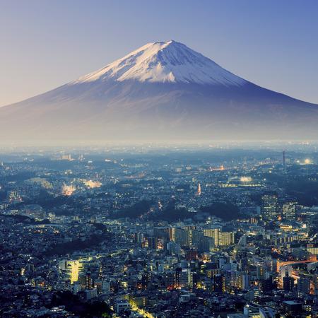 Mount Fuji. Fujiyama. Aerial view with cityspace surreal shot. Japan