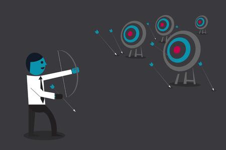 Businessman target goal concept cartoon illustration.