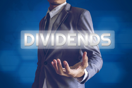 Businessman or Salaryman with Dividends text modern interface concept.