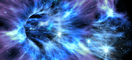 Deep space background with exotic wormhole system for alien fantasy games or science fiction illustrations of interstellar travel