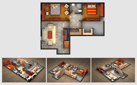 Photo for House rendered plan and three isometric section views of a finished basement with furnished living room bedrooms storage area and bathroom - Royalty Free Image