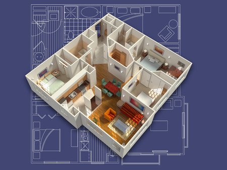 Photo for 3D isometric rendering of a furnished residential house, on a blueprint, showing the living room, dining room, foyer, bedrooms, bathrooms, closets and storage. - Royalty Free Image