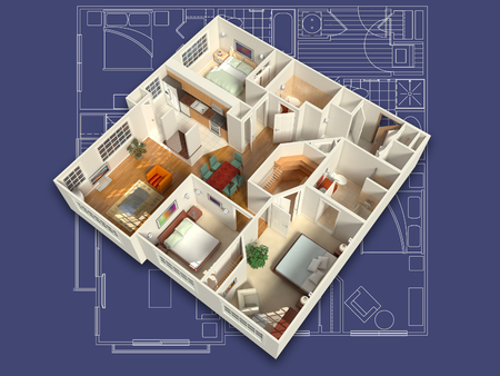 Photo for 3D House Interior on a Blueprint - Royalty Free Image