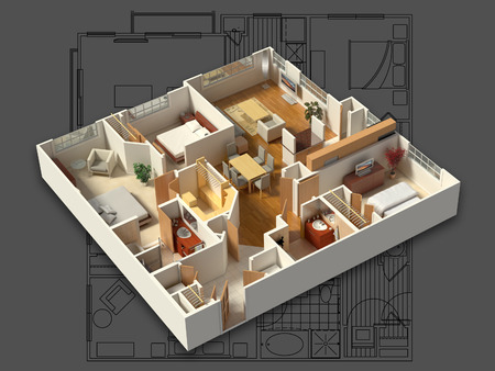 Photo for 3D isometric rendering of a furnished residential house, showing the living room, dining room, foyer, bedrooms, bathrooms, closets and storage. - Royalty Free Image