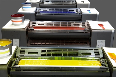 Printing Press Ink Units showing  4 colours