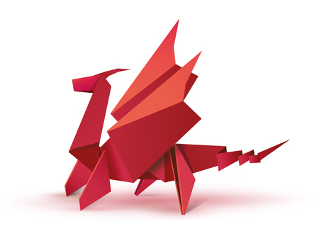 Illustration for Origami. Origami dragon. Red origami dragon. Illustration of a red dragon origami figure. Flying dragon in origami form. Vector illustration Eps10 file - Royalty Free Image