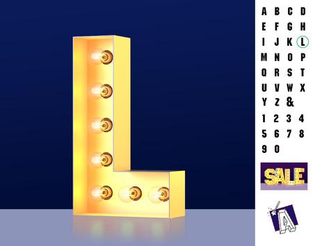 Letter L from alphabet. Glowing letter L. Bulb type L. 3d Illuminated light bulb symbol letter L. Retro alphabet. Lamp font. Letter of light bulbs. Retro sign lamp light font. 3d rendering
