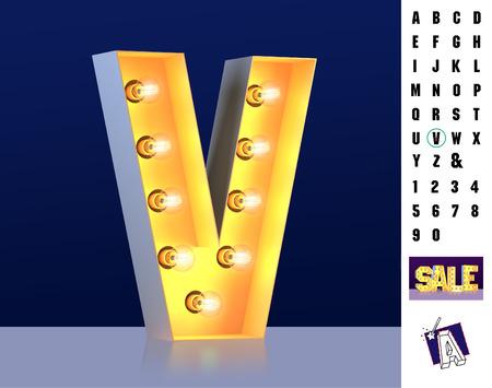 Letter V from alphabet. Glowing letter V. Bulb type V. 3d Illuminated light bulb symbol letter V. Retro alphabet. Lamp font. Letter of light bulbs. Retro sign lamp light font. 3d rendering