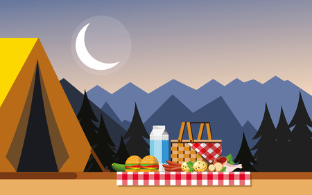 Recreation in nature. Picnic. Picnic in the mountains. Camping in the mountains. The concept of camping and outdoor recreation. Flat style. Flat design. Vector illustration Eps10 file