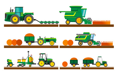 Illustration pour Agricultural machinery. Set of agricultural machinery. Set of agricultural equipment on white background. A set of agricultural machinery for harvesting fields. Flat style. Flat design. Vector illustration Eps10 file - image libre de droit
