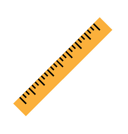 Illustration pour Silhouette of a yellow ruler in a flat style. Icon of the yellow ruler. Vector yellow ruler isolated on white background. Ruler top view illustration. Vector illustration Eps10 file - image libre de droit