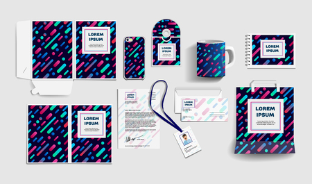 Illustration pour Corporate identity business items. Editable corporate identity template design. Vector icons office stationery. Gift Items business color promotional souvenirs elements. Stationery set corporate style - image libre de droit