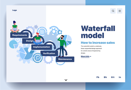 Ilustración de Web page flat design template for waterfall model. Business landing page life cycle methodology of how to increase sales. Modern vector illustration concept for website and mobile website development - Imagen libre de derechos