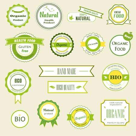 Set of labels, logos and stickers on organic and natural food